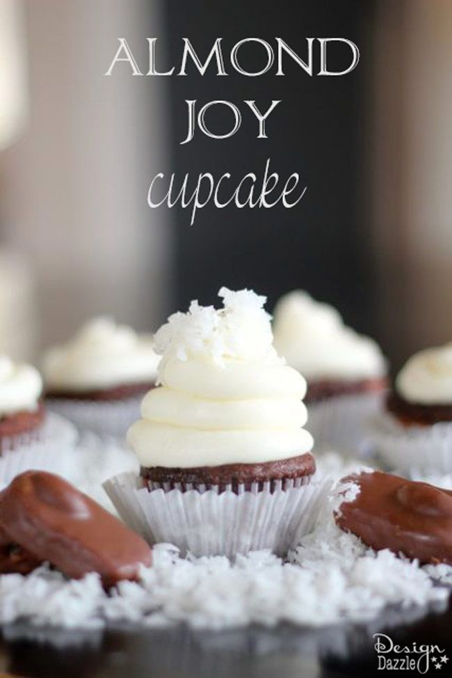 Do you love Almond Joys? If so, this recipe for Almond Joy cupcakes is the yummiest!! You can't stop at one! Easy recipe to make with the family. Design Dazzle