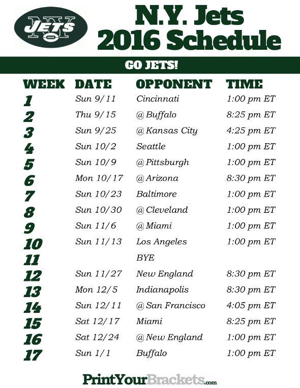 N.Y. Jets Schedule - 2016