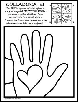 Radial Symmetry COLLABORATIVE KINDNESS Activity Coloring