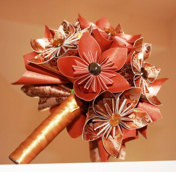 Copper Autumn Swirls Origami Bridal Bouquet. $95.00, via Etsy.: Bridal Bouquets, Autumn Swirls, Customiz Bouquets, Copper Origami, Origami Bouquets, Swirls Origami, Copper Autumn, Origami Bridal, Traditional Bouquets