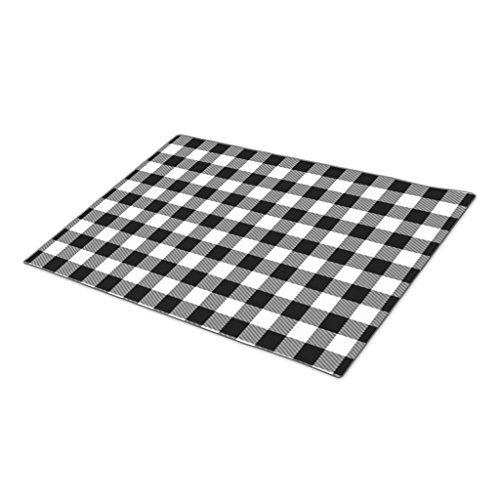 HomeTaste Custom Doormat Cool White Black Lumberjack Tartan Squares Pattern Large Door Mat -- You can find out more details at the link of the image.