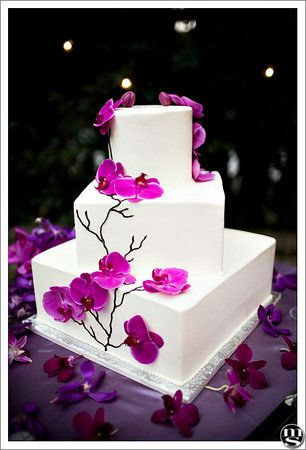 Simple white square, 3-tier wedding cake with purple phaelanopsis orchids.