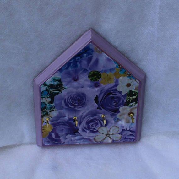 Purple rose house shaped wooden key rack  Decoupage key