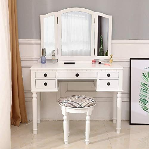 New Henf Vanity Table Set Wood Dressing Table Tri Folding Mirror Makeup Desk Stool 5 Drawers Storage Bedroom Furniture White Style 1 Online Shopping Pre In 2020 Vanity Table Set Storage Furniture Bedroom Dressing Table