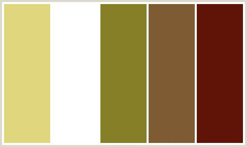 ColorCombo413 - ColorCombos.com color palettes, color schemes, color combos with hex colors codes #E0D67D, #FFFFFF, #867F27, #7E5B33, #601407 and color combination tags BROWN, CHENIN, MAHOGANY, ORANGE, POTTERS CLAY, RED, WASABI, WHITE, YELLOW, YELLOW.