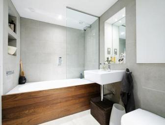 photo of natural scandinavian grey white wood bathroom
