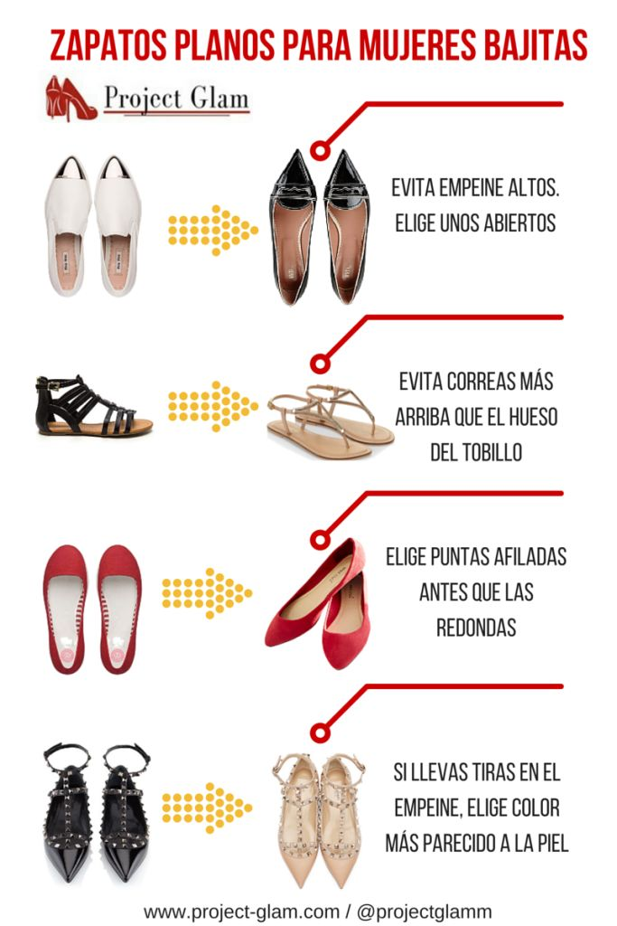Zapato plano para mujer bajita