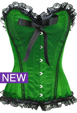 The Violet Vixen - Pinup Doll Green Corset, $72.00 (http://thevioletvixen.com/corsets/sassy-satin-seductress-green-corset/) Lucky Green Corset, Steel Boned, Black ribbon, busk front, Authentic.