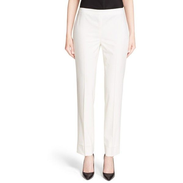 Women's Lafayette 148 New York 'Bleeker' Pants ($149) ❤ liked on Polyvore featuring pants, ivory, white trousers, ivory pants, white slim pants, slim pants and slim fit trousers