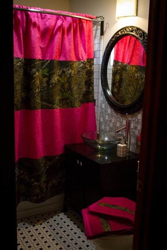 Ready To Ship Mossy Oak And Pink Shower Curtain And Matching