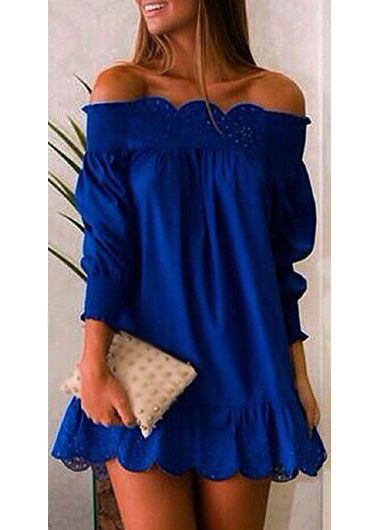 Blue Off The Shoulder Pierced Straight Dress