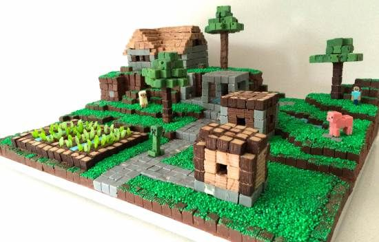 Mini chocolate block Mine craft cake. Need lots of time to make all those yummy mini blocks (might eat them all). . Chocolate cake is under the tiered section.