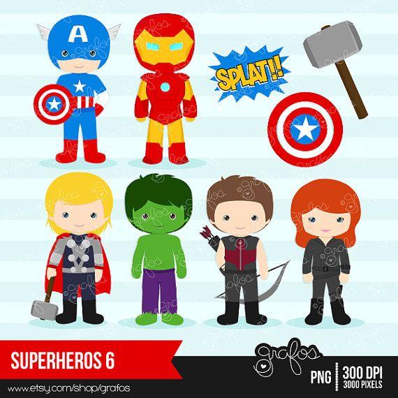 459 Best Retro Future Character Images On Pinterest: SUPERHEROES 6 Digital Clipart , Avengers Clipart / Instant