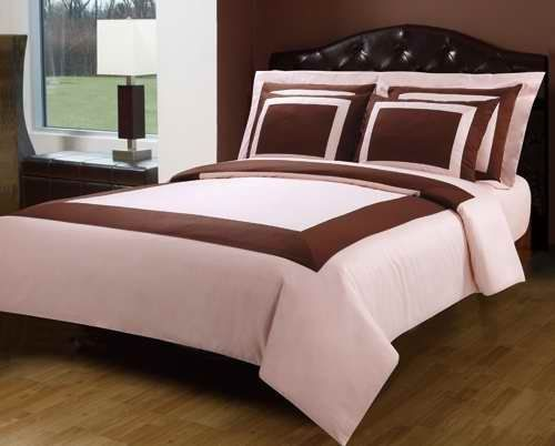 10PC Pink  Chocolate King size Hotel Down Alternative Bed in a bag Comforter set including a Duvet set sheet set down alternative comforter By sheetsnthings -- ON SALE Check it Out