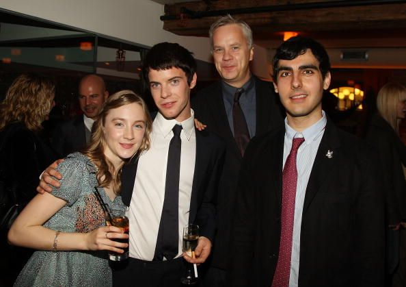 Actress Saorise Ronan actor Harry Treadaway actor Tim Robbins and director Gil Kenan attend a dinner for the premiere of 'City of Ember' at Vento on...
