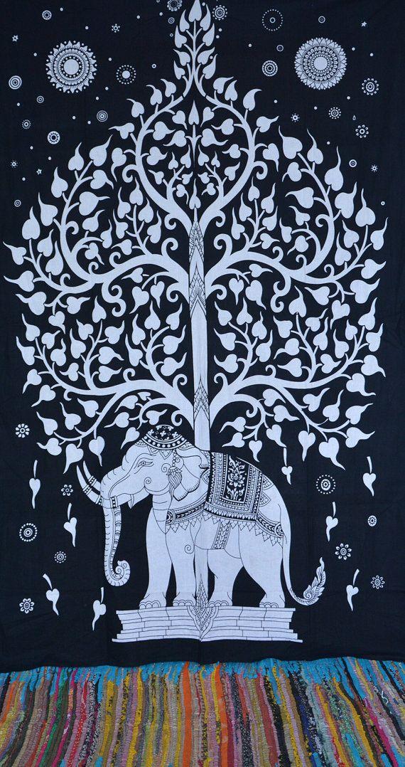 Beautiful Elephant Tree of life Tapestry Hippie by Ayatcreation, $15.99