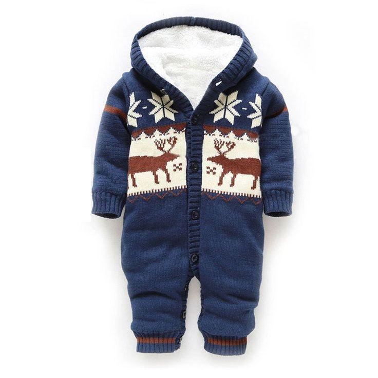 e6600822e Baby Winter Thick Reindeer Bodysuit Fleece lined