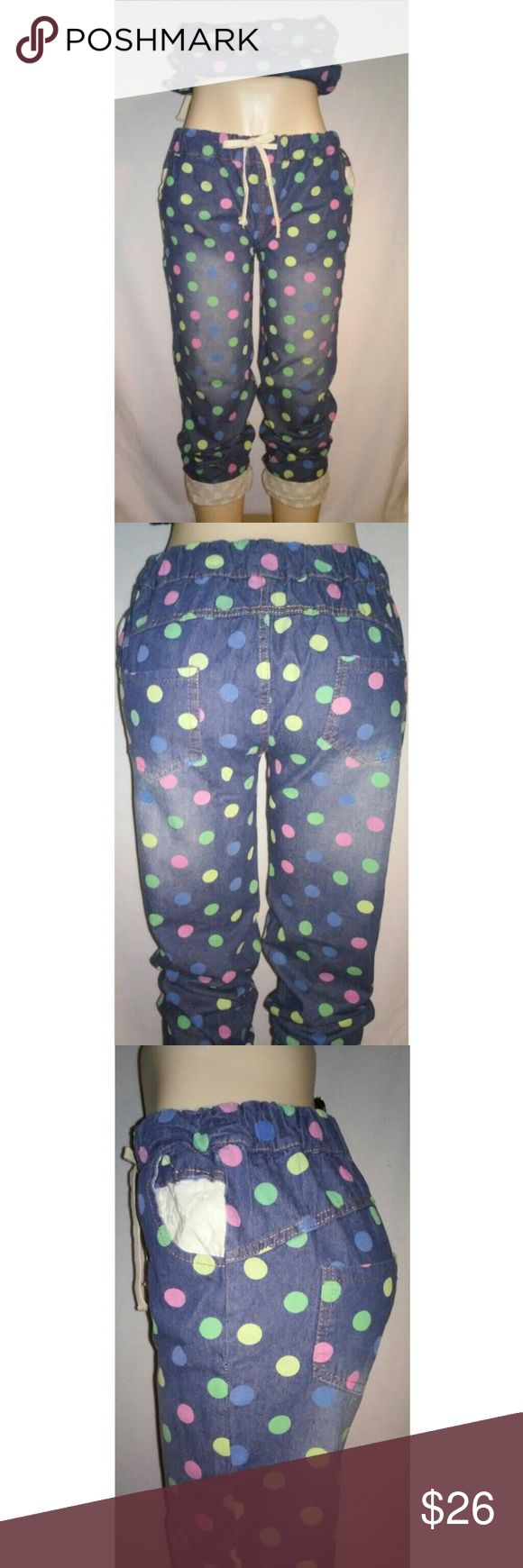 Polka Dot Jean Joggers Polka Dot Jean Joggers with floral lace design if cuffed. Floral design also inside both side pockets  New without tags. Pants Track Pants & Joggers