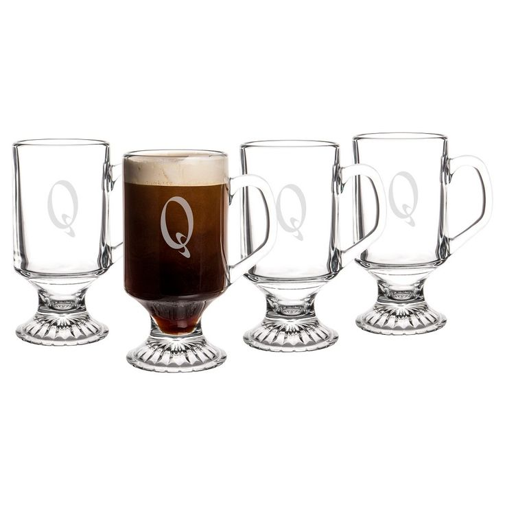 Cathy's Concepts Personalized Irish Glass 10oz Coffee Mugs Set of 4 - Q, Clear