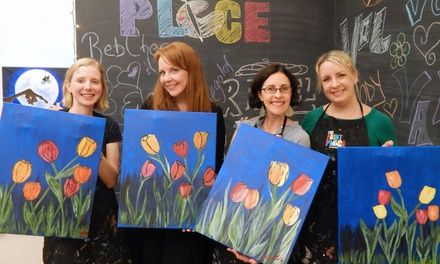 Artists guide students through a step-by-step process to create their own painting to take home