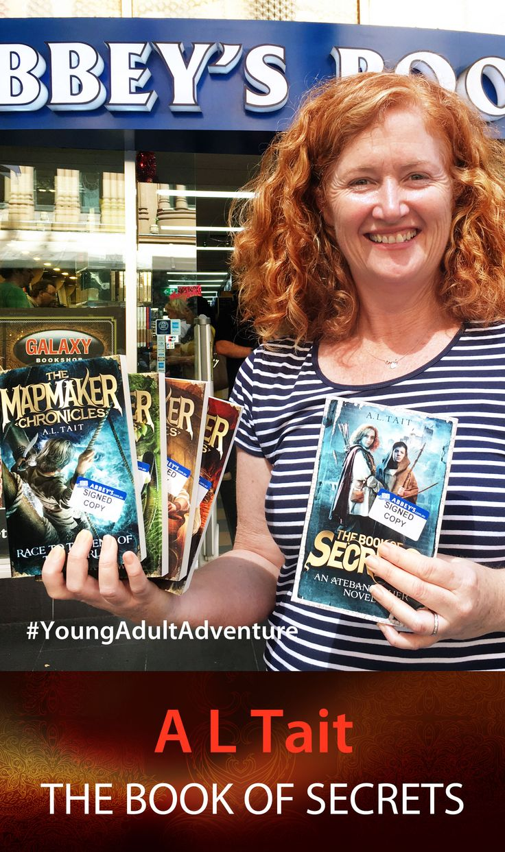 A L Tait with The Book of Secrets. #Abbeysbookshop #131york #Sydney #YAFiction #adventure #fiction