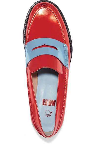 MR by Man Repeller - The Alternative To Bare Feet Metallic Leather Loafers - Red - IT38.5