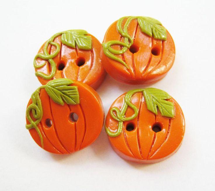 Pumpkins - set of 4 polymer clay buttons