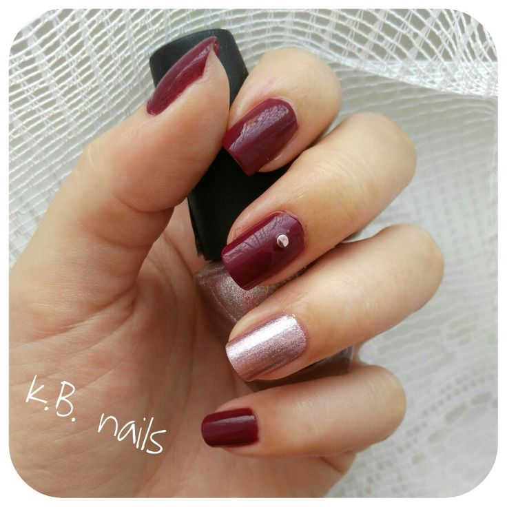 Nails / Yves Rocher Ombre pourpre / Vollare cosmetics rose metal