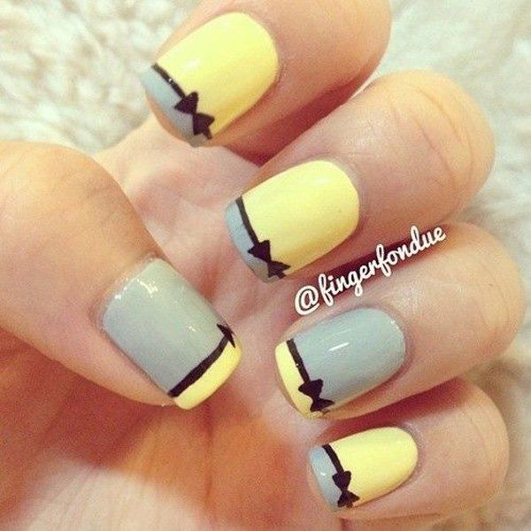 Delightful looking French tips with a thin black bow accent. Coat the nails in baby blue and yellow polish alternatively. Coat the tips as the inverse colors of the nails and simply trace the line between the French tips and the base coat to draw your black ribbon.