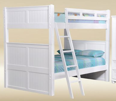 """The Dillon White Full Over Full Bunk Bed will add the to spirit of adventure to any child's room. This bunk bed features 3"""" square posts and a ladder."""