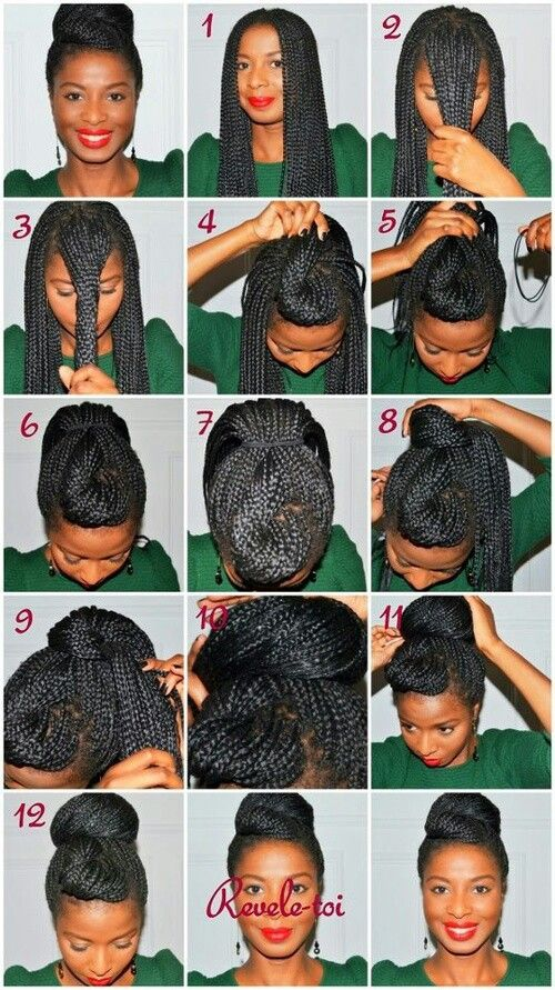 African braids twisted into a style