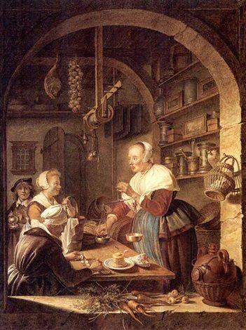 Kopie van de kruidenier 1647 van Gerard Dou. Jaar en locatie onbekend.