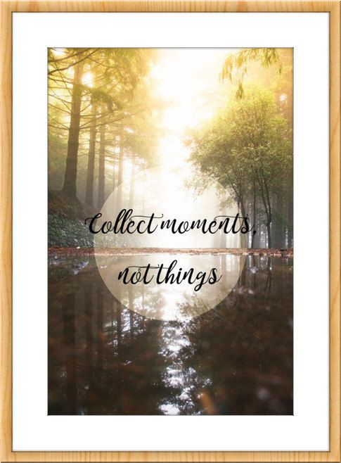 Printable quotes, Inspirational Quote, Inspirational Print, Nature Wall Art, Nature home decor, Nature photography, Motivational quotes  Photograph taken in a forest with fog with the inspirational quote: Collect moments, not things. Don't you know how to decorate your new apartment? Have you got an office and you want to decorate it? This is your shop! The image is available to print in digital format directly! The maximum size I recommend is 50cm x 70cm (19x27). Please, consult and test…