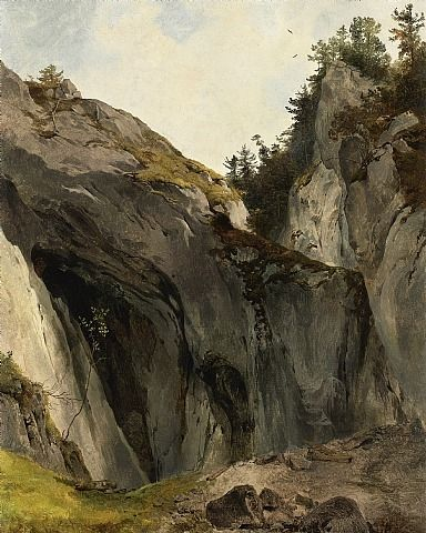Friedrich Gauermann .  A Rocky Outcrop with Vegetation. A Nature Study .  Oil on paper