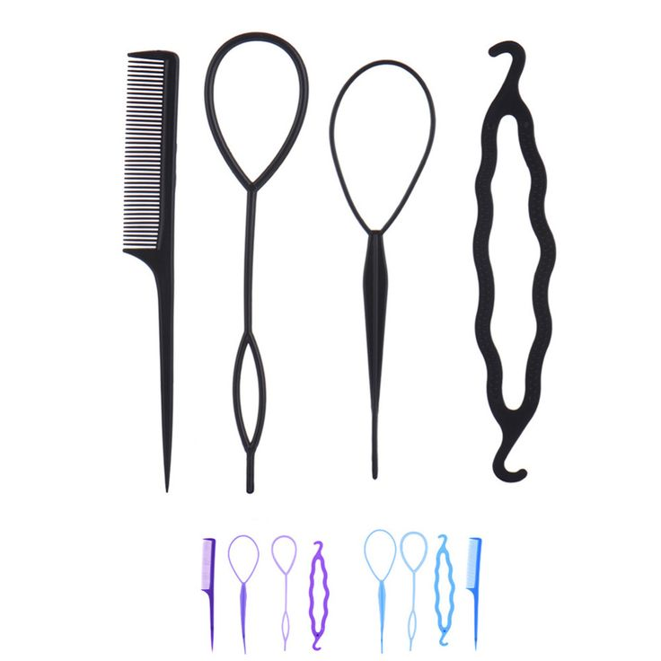 4Pcs Hair Accessories Hairdressing Tool Hair Twist Styling Clip Weave Braid Pull Hair Pins Plate Made Needle Comb Donut Tool