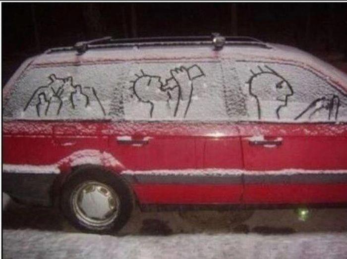 .: Families Parties, Snow Much Fun, Winter Fun, Street Art, Funny Cars, Funny Stuff, Families Cars, Funny Photo, Snow Art