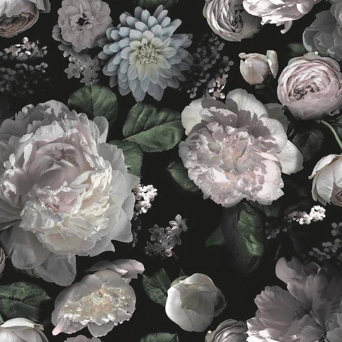 Tempaper 60-sq ft Black Vinyl Floral Self-Adhesive Peel ...