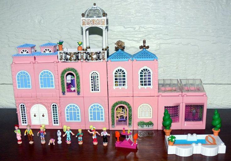 1999 Polly Pocket Dream Builders Deluxe Mansion w/Master Bedroom, Nursery, Disco #PlaysetswDollsAccessories