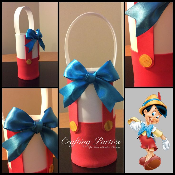 Pinocchio goodie bag. Everything is handmade out of craft foam. Includes silk ribbon for the bow and real buttons. Contact me: diannacraftingparties@yahoo.com follow me on IG: @craftingparties or on Facebook at www.facebook.com/craftingpartiesbydianna #pinocchio