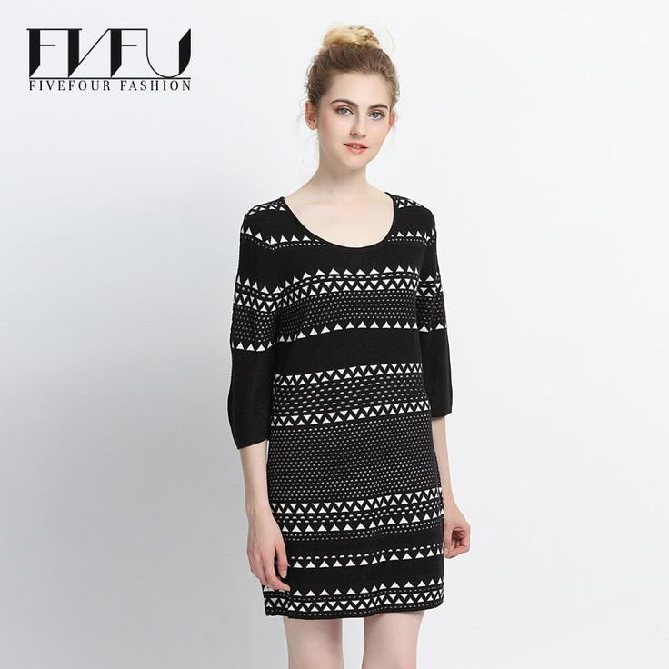 ==> [Free Shipping] Buy Best New Fashion 2017 Autumn Winter Dress Plus Size Vintage Black Dress Women Knitting Base Casual Striped Elegant Sweater Dress Online with LOWEST Price | 32706984165