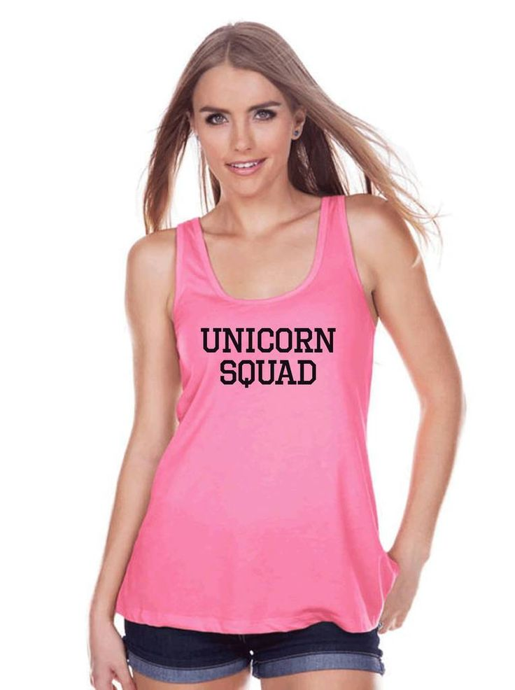 Funny Women's Shirt - Unicorn Squad - Funny Shirt - Unicorns T-shirt - Womens Pink Tank Top - Funny Tank - Gift for Her Unicorn Tank Top