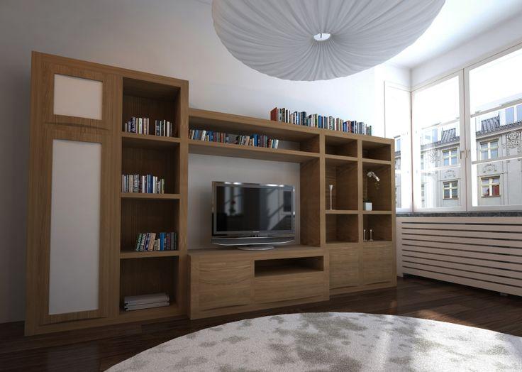 Neila roble 1 muebles para el sal n en madera maciza for Muebles salon madrid