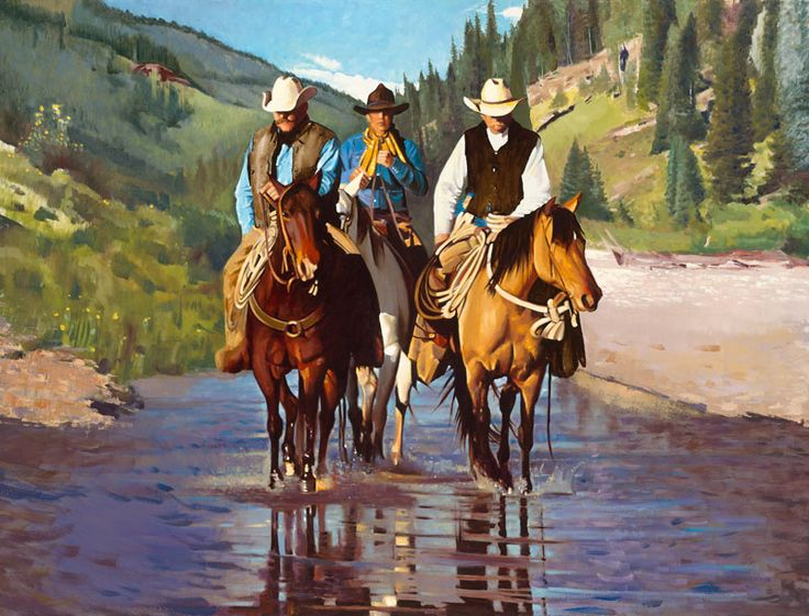 Cowboys and Cowgirls and Horses   Cowboys and Horses   Michael Stoyanov Art Studio