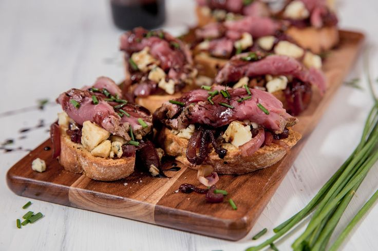 Blue cheese and Caramelised Onion, Beef Crostini