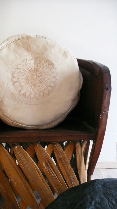 Image of Moroccan Natural Leather Pouf