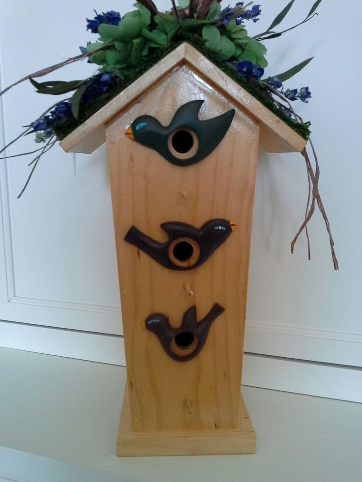 Three Bird Wooden Birdhouse With A Moss Roof, Purple Larkspur, Green  Hydrangea And Eucalyptus
