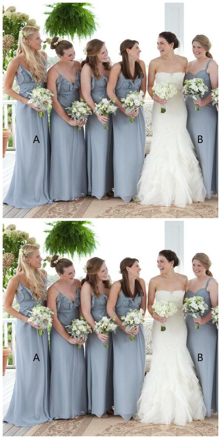 Grey Chiffon V Neck Cheap Custom Bridesmaid Dresses Online Wg214 Custom Bridesmaid Dress Bridesmaid Dresses Online Simple Bridesmaid Dresses