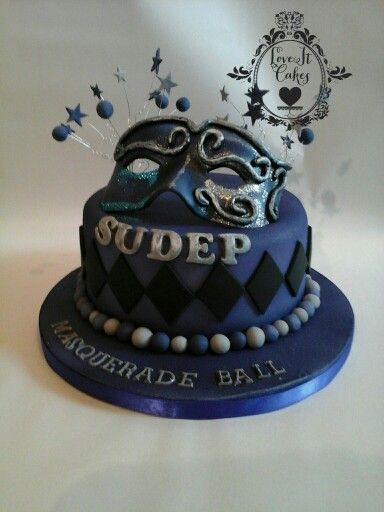Masquerade cake with hand crafted mask from modeling paste, for SUDEP charity