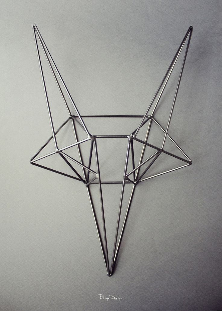 bongo design: steel fox head a geometrical fox's head is formed out of steel wire to create a decorative motif perfect for an