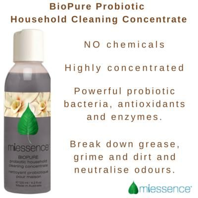 Miessence Certified Organic BioPure Probiotic Household Cleaning Concentrate. Make cleaning easy with enzymes & probiotics.